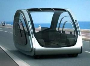 Автомобиль на солнечных батареях футуристического вида