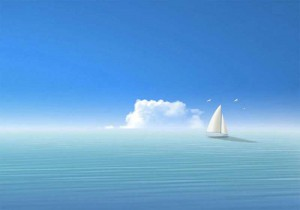 Белый парусник на синем море
