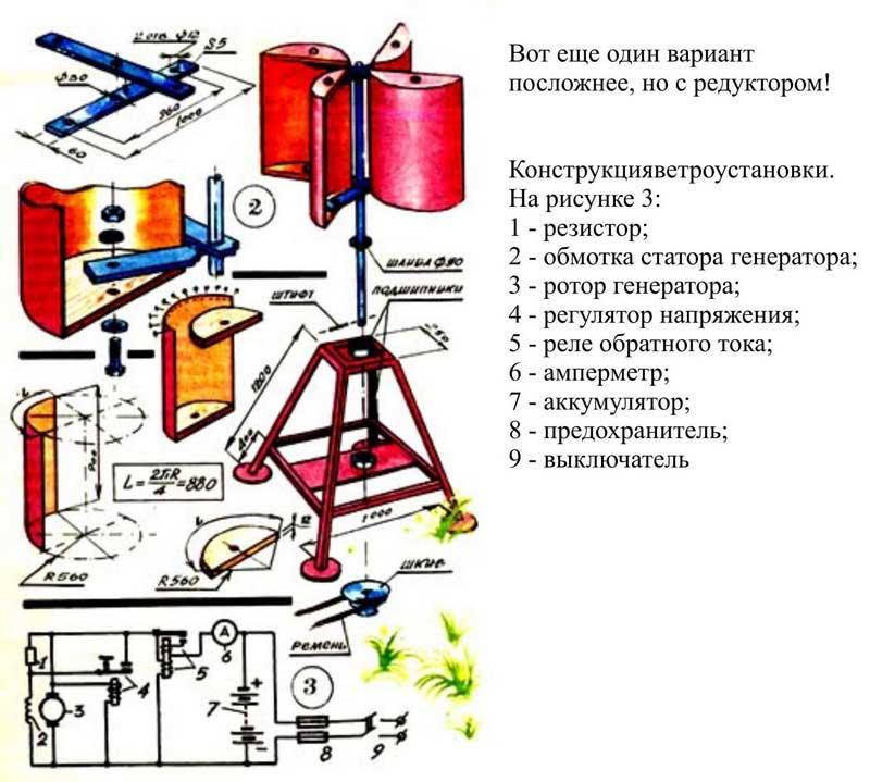 Схема роторного ветрогенератора с редуктором