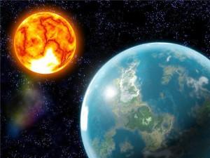 Солнце и Земля из космоса
