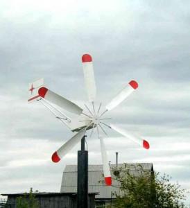 Простой ветряк с окрашенными винтами