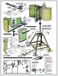 Схема для сборки ветряка из бочки
